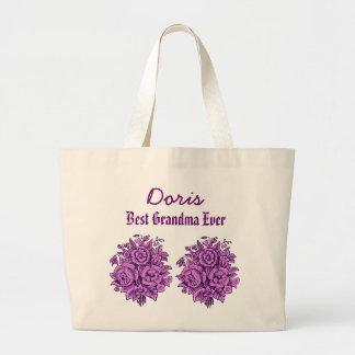 Best Grandma Ever Custom Name Purple Flowers V302 Tote Bags