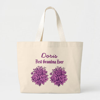 Best Grandma Ever Custom Name Purple Flowers V302 Tote Bags