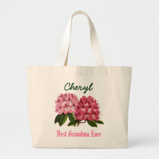Best Grandma Ever Custom Name  Rhododendron Jumbo Tote Bag