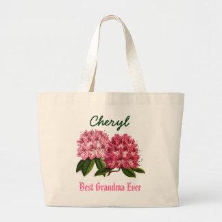 Best Grandma Ever Custom Name  Rhododendron Large Tote Bag