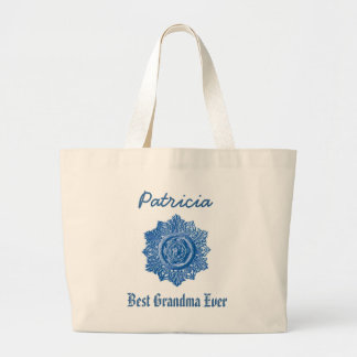 Best Grandma Ever Custom Name Vintage Blue Jumbo Tote Bag
