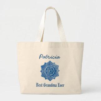 Best Grandma Ever Custom Name Vintage Blue Jumbo Tote Bag