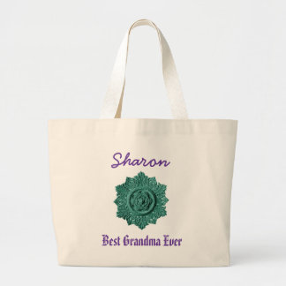 Best Grandma Ever Custom Name Vintage Green Jumbo Tote Bag