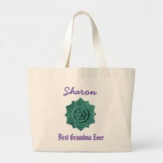 Best Grandma Ever Custom Name Vintage Green Jumbo Tote Bag