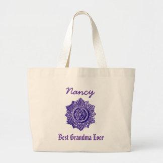 Best Grandma Ever Custom Name Vintage Purple Jumbo Tote Bag