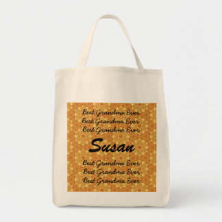 Best Grandma Ever Gold Lace Flowers Template Grocery Tote Bag