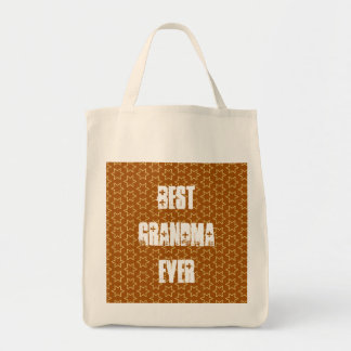 Best GRANDMA Ever Gold Star Pattern Gift Idea Grocery Tote Bag