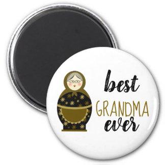 Best Grandma Ever Golden Matryoshka Russian Doll Magnet
