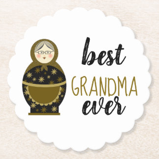 Best Grandma Ever Golden Matryoshka Russian Doll Paper Coaster