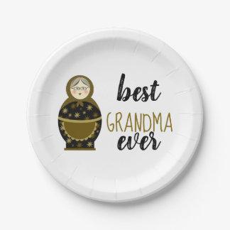 Best Grandma Ever Golden Matryoshka Russian Doll Paper Plate