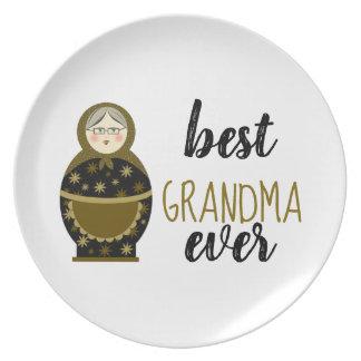 Best Grandma Ever Golden Matryoshka Russian Doll Plate