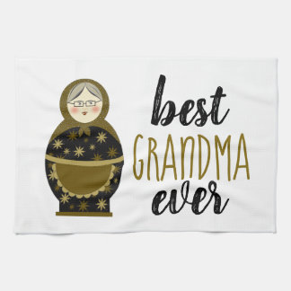 Best Grandma Ever Golden Matryoshka Russian Doll Tea Towel