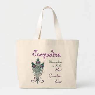 Best Grandma Ever Peacock Feather Teal Purple Jumbo Tote Bag