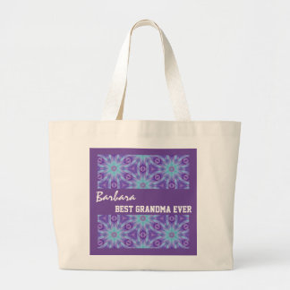 Best Grandma Ever Purple Turquoise Floral A01 Jumbo Tote Bag