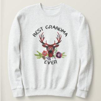 Best Grandma Ever Red Buffalo Plaid Stag Sweatshirt