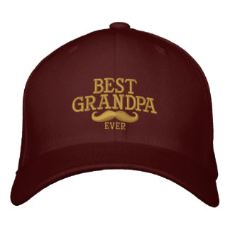 Best Grandpa Ever Mustache Embroidery Embroidered Hat