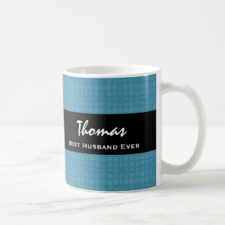 Best Husband Ever Blue and Black Custom Name Coffee Mug