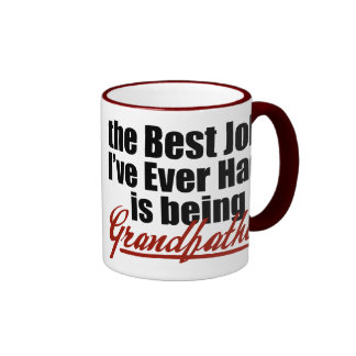 Best Job is Being a Grandfather Ringer Mug