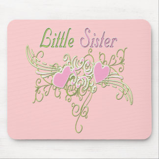 Best Little Sister Swirling Hearts Mouse Pad