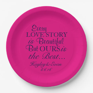 Best Love Story Paper Plates Pink and Navy 9 Inch Paper Plate