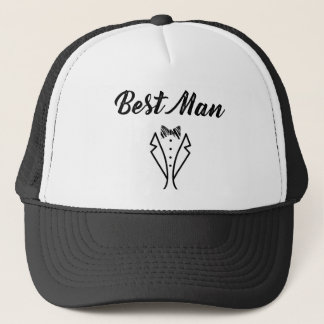 Best Man Bowtie Tuxedo Wedding Gift Trucker Hat