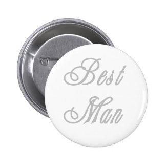 Best Man Classy Grays 6 Cm Round Badge