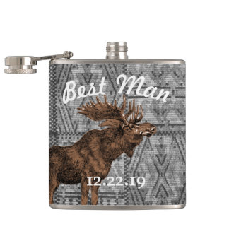 Best Man Flask Vintage Moose Tribal Pattern