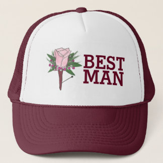 Best Man Groomsmen Wedding Boutonniere Rose Hat