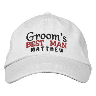 BEST MAN of the GROOM Custom Name WHITE A07C7E2 Embroidered Hat