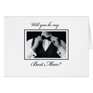 Best Man Request, Black and White, Tuxedo Greeting Card