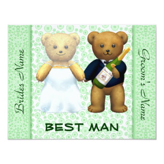 Best Man - Teddy Bears Apple Green Wedding Invite