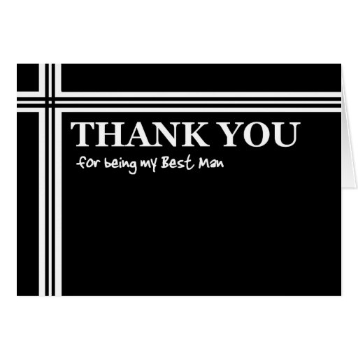 BEST MAN Thank You  - Black and White with Stripes Cards
