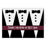 BEST MAN Thank You - Three Tuxedos - Customisable Greeting Card