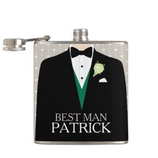 Best man tuxedo green rose button named hip flask