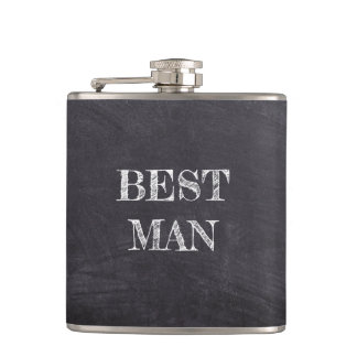 Best Man Wedding Black Chalkboard Whisky Flask