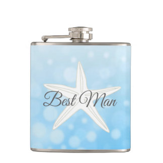 Best Man Wedding Blue Starfish Flask