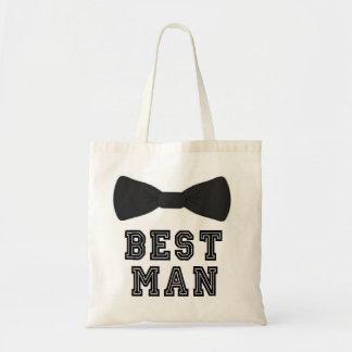 Best man wedding groomsmen bow tie tote bag