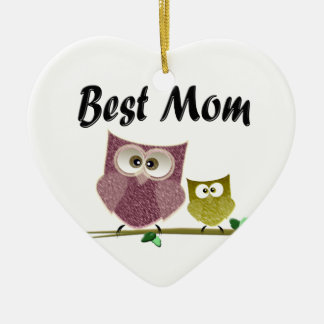 Best Mom cute Owls art Ceramic Ornament