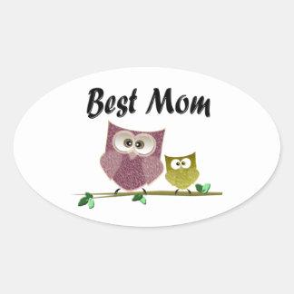 Best Mom cute Owls art Oval Sticker