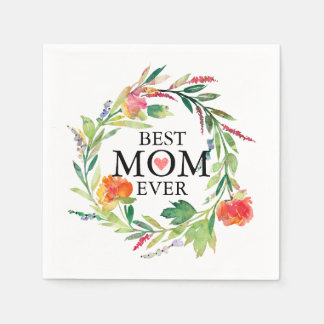 Best Mom Ever-Colorful Flowers Wreath Paper Napkin