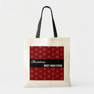 Best Mom Ever Custom Name Red Stars Black W1339 Tote Bag