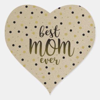 Best Mom Ever Golden Black Dots Confetti Stylish Heart Sticker