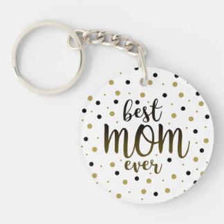Best Mom Ever Golden Black Dots Confetti Stylish Key Ring