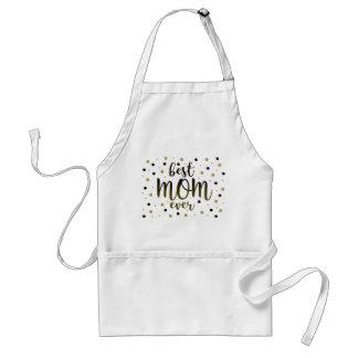 Best Mom Ever Golden Black Dots Confetti Stylish Standard Apron