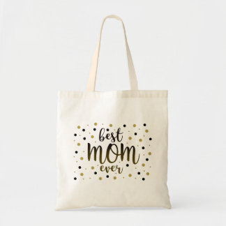 Best Mom Ever Golden Black Dots Confetti Stylish Tote Bag