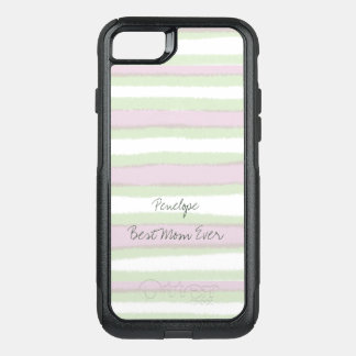 Best Mom Ever Green and Pink Striped Pattern OtterBox Commuter iPhone 8/7 Case