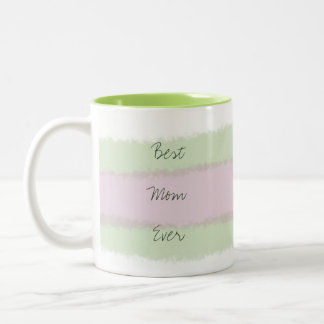 Best Mom Ever Green and Pink Striped Pattern Two-Tone Coffee Mug