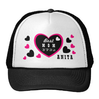 Best Mom Ever Oodles of Hearts Custom Name A07A Cap