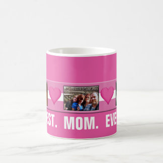 Best Mom Ever Pink Hearts | Custom Photo Collage Coffee Mug