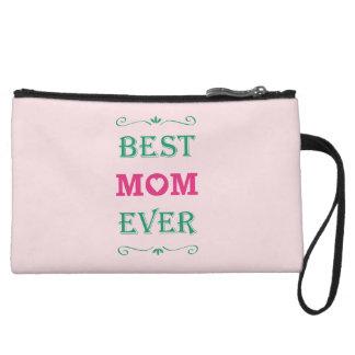 """Best Mom Ever"" Pretty Text Art Design Wristlet Purses"